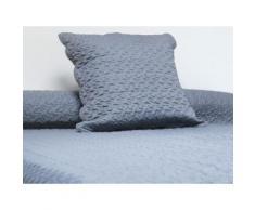 Couvre-lit Boutis uni Gris 180x220 cm avec 1 taie d'oreiller - Linge de lit