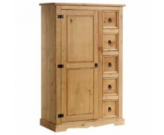 Buffet chiffonnier apothicaire pin massif style mexicain finition cirée - Buffets