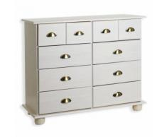 Commode apothicaire chiffonnier 8 tiroirs pin massif lasuré blanc - Commodes
