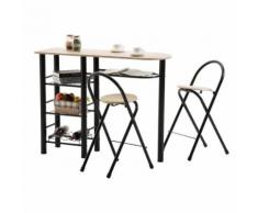 Ensemble STYLE avec table haute de bar mange-debout comptoir et 2 chaises/tabourets, en MDF chêne sonoma et structure en métal noir - Tables bar