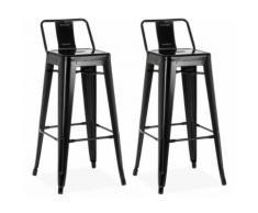 Chaise haute design industriel SAN FRANCISCO (lot de 2) noir - Chaise