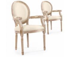 Lot de 2 chaises médaillon Louis XVI Cosy Tissu Beige - Chaise