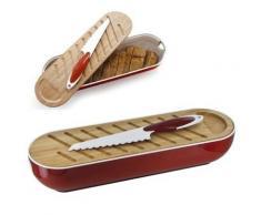 Corbeille à Pain 3 en 1 - planche à pain bambou, couteau à pain - Rouge - platerie, service
