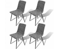 Meelady 4 pcs Chaise de Salon en Cuir Artificiel pour Salle à Manger, Salon Gris Foncé - Chaise