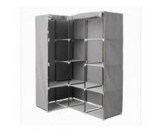 Paris prix - armoire d'angle penderie '11 compartiments' 169cm gris - Armoire