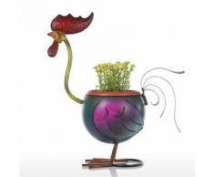 Tooarts Rooster Pot de Fleur Gift Décoration intérieure Metal Multicolor - Objet à poser