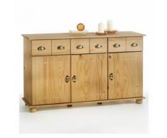 Buffet COLMAR commode bahut vaisselier rangement avec 3 tiroirs et 3 portes battantes en pin massif finition teintée/cirée - Buffets