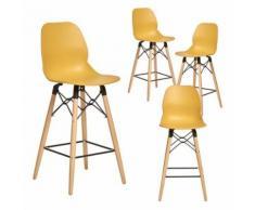 Chaise haute jaune style scandinave CLEO 3, lot de 4 - Tabourets