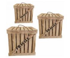 The Home Deco Factory - Cagette en bois naturel Fragile (Lot de 3) - Boite de rangement