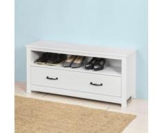 SoBuy FSR48-W Banc de Rangement Meuble à Chaussures Meuble d'Entrée Commode à Chaussures Confortable avec tiroir et étagère -Blanc - Armoire