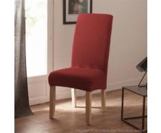 Housse de chaise uni bi-extensible coton/polyester rouille - lot de 2 LISA - Textile séjour