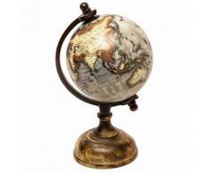 L'Héritier Du Temps - Jolie mappemonde globe terrestre décoratif rotatif planisphère sur pied carte ronde 13x13x25cm - Objet à poser