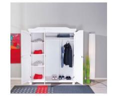 Armoire penderie dressing rangement chambre vintage 3 portes bois massif BLANC - Armoire