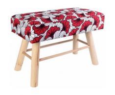 The Home Deco Factory - Banc à motifs avec pieds en bois Wax Rouge blanc - Bancs
