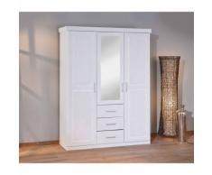 Armoire penderie dressing rangement chambre miroir 3 portes pin massif BLANC - Armoire