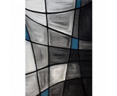 BRILLANCE Tapis de salon 120x170 cm turquoise, noir et gris - Tapis et paillasson