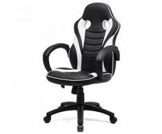 SPORTLINE Fauteuil de bureau inclinable en métal - Simili PU - Blanc - Industriel - L 61 x P 62 cm - Sièges et fauteuils de bureau
