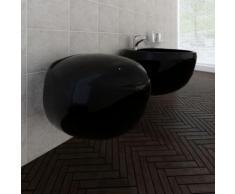 Cuvette WC suspendue et bidet suspendu en céramique Noir - Robinetterie