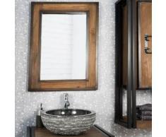 Miroir de salle de bain élégance bois métal 60x80 - Miroir