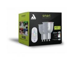 AwoX SKR2LMC5GU10 Set de 2 Ampoules LED et Télécommande. , Plastique/Resine, GU10, Blanc - Appliques et spots