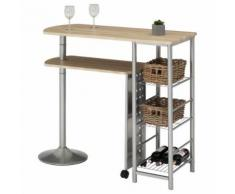 Table haute de bar JOSUA mange-debout avec comptoir et plateau mobile en MDF décor chêne sonoma 3 étagères et structure en métal - Tables bar