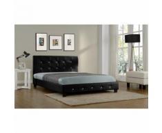 Lit Notting Hill - Cadre de lit en simili capitonné Noir - 160x200cm - Cadre de lit