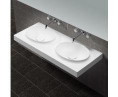 Lavabo Suspendu Double Vasque Moulées Blanc Mat, 120x50cm, Composite, Origin - Installations salles de bain