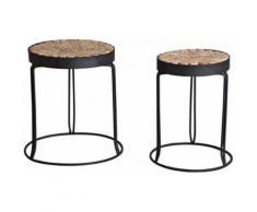 Sellettes rondes en métal et bois (lot de 2) - Tables d'appoint