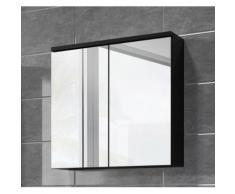 Meuble à miroir 60x59 cm Toledo Noir - Miroir armoire miroir salle de bains verre armoire de rangement - Installations salles de bain