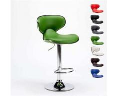 Tabouret pour cuisine et bar AMARILLO design moderne pivotant chromé, Couleur: Vert - Tabourets