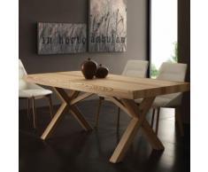 Table à manger extensible bois massif BOLIA - L 300 x P 90 x H 75 cm - Tables salle à manger