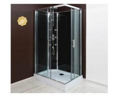 Aqua+ - cabine de douche accès d'angle porte coulissante verre transparent 80x80 - selia - Installations salles de bain