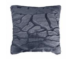Coussin 40 x 40 cm imitation fourrure ecaille Navy - Textile séjour