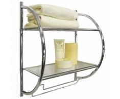 Watsons - CURVE - 2 étagères de rangement de salle de bain avec porte-serviette - argent - Étagère