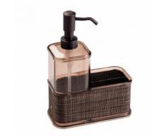 InterDesign Twillo rangement évier - grand distributeur de savon en plastique - distributeur savon avec compartiment - couleur bronze - Accessoires de bain