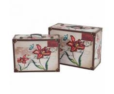 2x coffre en bois Athen, M+L coffre de décoration, bahut en bois, aspect antique - Boite de rangement