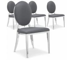 Lot de 4 chaises médaillon Sofia Gris - Chaise