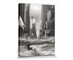 Surf Poster Reproduction Sur Toile, Tendue Sur Châssis - Swell Time In Town, Thomas Barbey (80x60 cm) - Décoration murale
