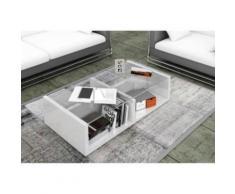 FINLANDEK Table basse GINA 100x50 cm - Blanc laqué et verre - Objet à poser