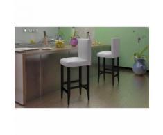 Meelady 2 pcs Chaise de Salon Tabouret de Bar en Cuir Artificiel Blanc - Chaise