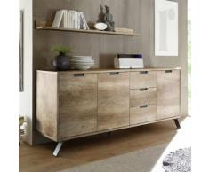 Enfilade 2 portes 3 tiroirs moderne couleur chêne PLUME 2 - Buffets