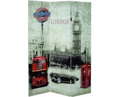 Paravent london multicolore de 3 pans, L120 x P3 x H180 cm -PEGANE- - Objet à poser
