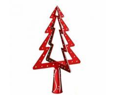 Cimier 3D de sapin de Noël - Sapin - Modèle 1 - Rouge et argent - Objet à poser
