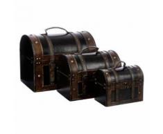 Paris prix - set de 3 malles à poignée en bois 'british' marron - Boite de rangement