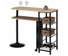 Table haute de bar JOSUA mange-debout avec comptoir et plateau mobile en MDF décor chêne sonoma 3 étagères et structure métal noir - Tables bar