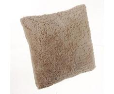 Coussin fourrure rayée Lin, 40 x 40 cm -PEGANE- - Textile séjour