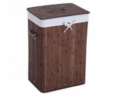Panier à linge corbeille à linge bac à linge bambou pliable couvercle sac amovible 3 poignées PU 40L x 30l x 60H cm marron - Accessoires de bain
