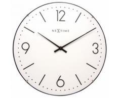 NeXtime NE-3157WI Horloge murale Dia. 35 cm, globe terrestre, blanc, 'Basic Dome' - Décoration murale