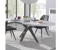 Table avec rallonge moderne couleur bois blanc et gris ARTIC - L 180 x P 130 x H 77 cm - Tables salle à manger