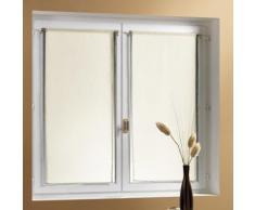 Voilage vitrage à passant polyester uni - lot de 2 ADONIS - Blanc - 60x160cm - Rideaux et stores